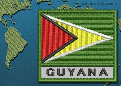 This Flag of Guyana Text with a Colour Coded border design was digitized and embroidered by www.embroidery.design.