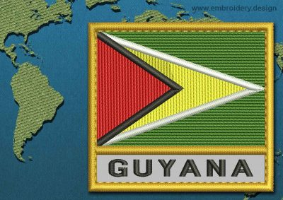 This Flag of Guyana Text with a Gold border design was digitized and embroidered by www.embroidery.design.
