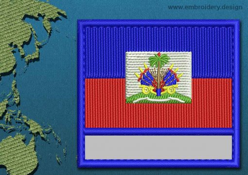 This Flag of Haiti Customizable Text  with a Colour Coded border design was digitized and embroidered by www.embroidery.design.