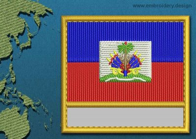 This Flag of Haiti Customizable Text  with a Gold border design was digitized and embroidered by www.embroidery.design.