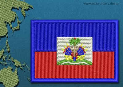This Flag of Haiti Rectangle with a Colour Coded border design was digitized and embroidered by www.embroidery.design.