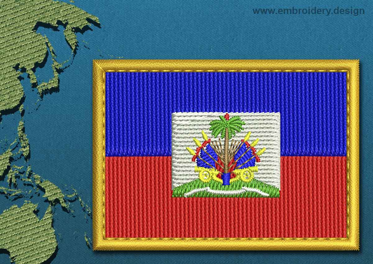 Haiti Rectangle Flag Embroidery Design With A Gold Border