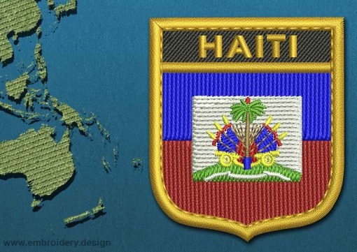 This Flag of Haiti Shield with a Gold border design was digitized and embroidered by www.embroidery.design.