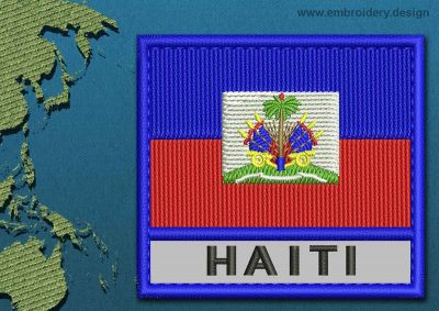 This Flag of Haiti Text with a Colour Coded border design was digitized and embroidered by www.embroidery.design.