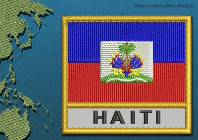 This Flag of Haiti Text with a Gold border design was digitized and embroidered by www.embroidery.design.