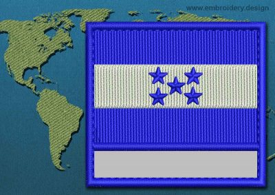 This Flag of Honduras Customizable Text  with a Colour Coded border design was digitized and embroidered by www.embroidery.design.