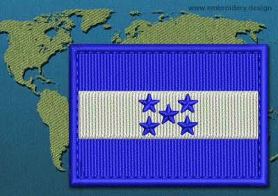 This Flag of Honduras Rectangle with a Colour Coded border design was digitized and embroidered by www.embroidery.design.