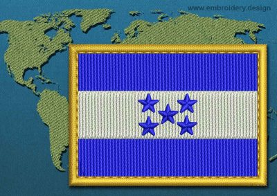 This Flag of Honduras Rectangle with a Gold border design was digitized and embroidered by www.embroidery.design.