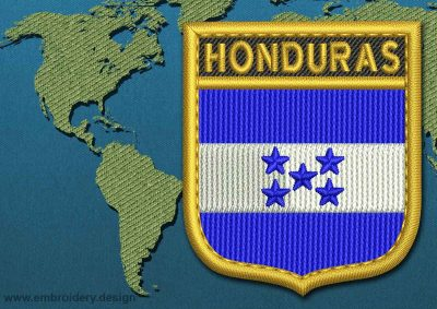 This Flag of Honduras Shield with a Gold border design was digitized and embroidered by www.embroidery.design.