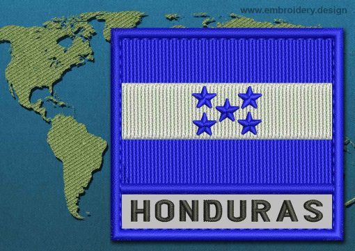 This Flag of Honduras Text with a Colour Coded border design was digitized and embroidered by www.embroidery.design.