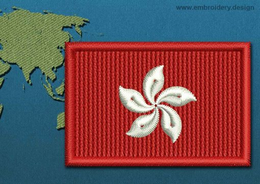 This Flag of Hong Kong Mini with a Colour Coded border design was digitized and embroidered by www.embroidery.design.