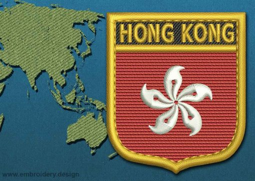 This Flag of Hong Kong Shield with a Gold border design was digitized and embroidered by www.embroidery.design.