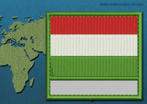 This Flag of Hungary Customizable Text  with a Colour Coded border design was digitized and embroidered by www.embroidery.design.