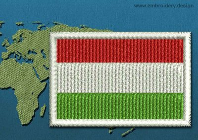This Flag of Hungary Mini with a Colour Coded border design was digitized and embroidered by www.embroidery.design.