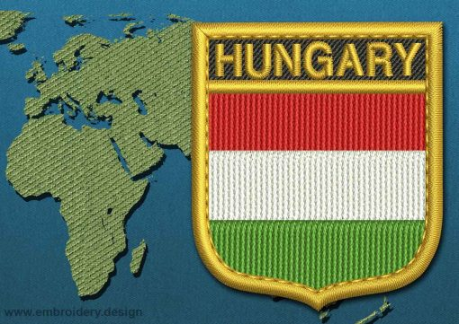 This Flag of Hungary Shield with a Gold border design was digitized and embroidered by www.embroidery.design.