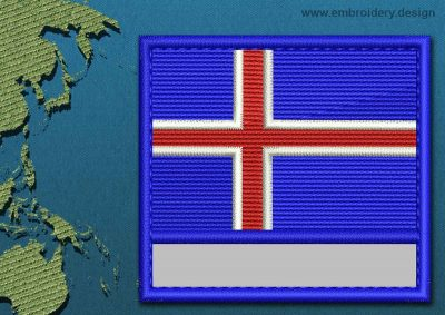 This Flag of Iceland Customizable Text  with a Colour Coded border design was digitized and embroidered by www.embroidery.design.