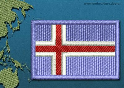 This Flag of Iceland Mini with a Colour Coded border design was digitized and embroidered by www.embroidery.design.