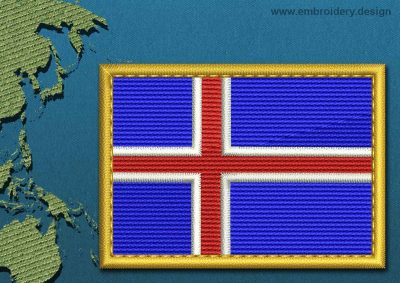 This Flag of Iceland Rectangle with a Gold border design was digitized and embroidered by www.embroidery.design.
