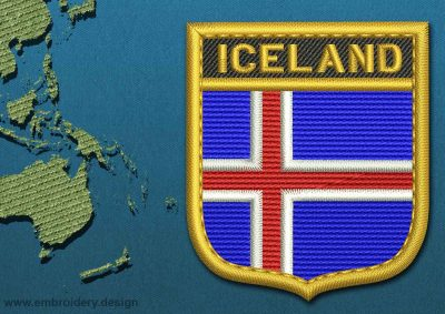 This Flag of Iceland Shield with a Gold border design was digitized and embroidered by www.embroidery.design.