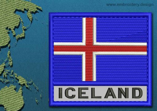 This Flag of Iceland Text with a Colour Coded border design was digitized and embroidered by www.embroidery.design.