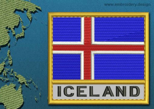 This Flag of Iceland Text with a Gold border design was digitized and embroidered by www.embroidery.design.