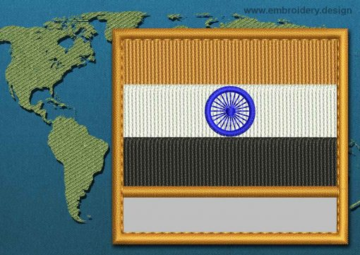 This Flag of India Customizable Text  with a Colour Coded border design was digitized and embroidered by www.embroidery.design.