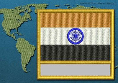 This Flag of India Customizable Text  with a Gold border design was digitized and embroidered by www.embroidery.design.