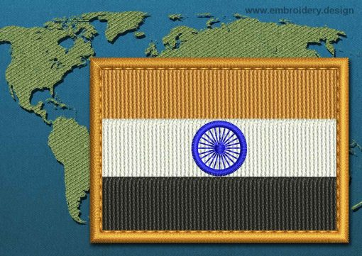 This Flag of India Rectangle with a Colour Coded border design was digitized and embroidered by www.embroidery.design.