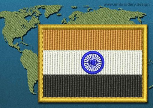 This Flag of India Rectangle with a Gold border design was digitized and embroidered by www.embroidery.design.