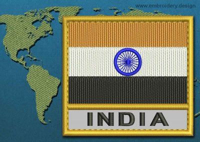 This Flag of India Text with a Gold border design was digitized and embroidered by www.embroidery.design.