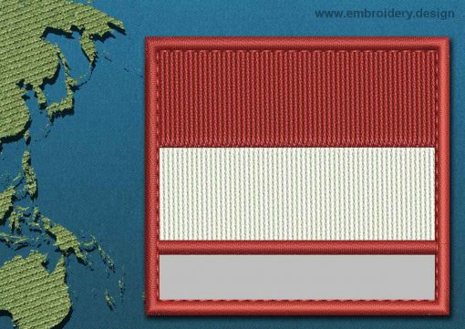This Flag of Indonesia Customizable Text  with a Colour Coded border design was digitized and embroidered by www.embroidery.design.