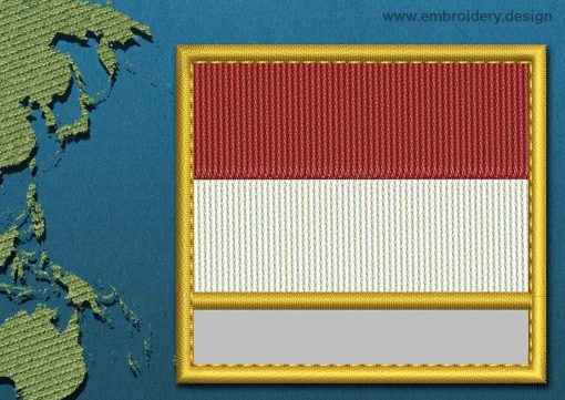 This Flag of Indonesia Customizable Text  with a Gold border design was digitized and embroidered by www.embroidery.design.