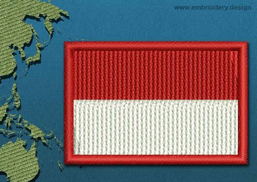 This Flag of Indonesia Mini with a Colour Coded border design was digitized and embroidered by www.embroidery.design.