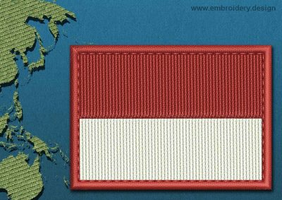 This Flag of Indonesia Rectangle with a Colour Coded border design was digitized and embroidered by www.embroidery.design.