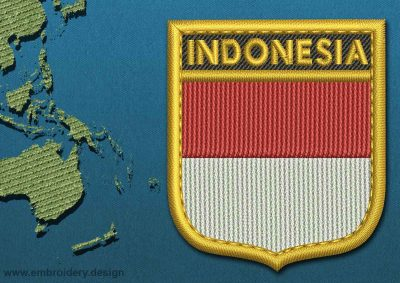 This Flag of Indonesia Shield with a Gold border design was digitized and embroidered by www.embroidery.design.