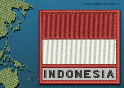 This Flag of Indonesia Text with a Colour Coded border design was digitized and embroidered by www.embroidery.design.