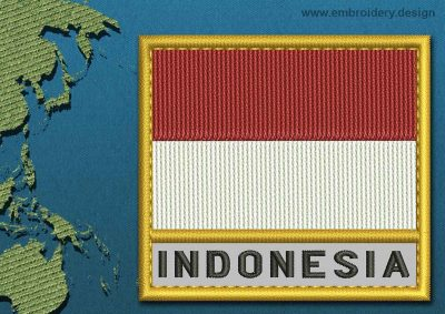 This Flag of Indonesia Text with a Gold border design was digitized and embroidered by www.embroidery.design.