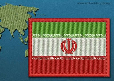 This Flag of Iran Rectangle with a Colour Coded border design was digitized and embroidered by www.embroidery.design.