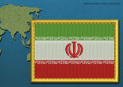 This Flag of Iran Rectangle with a Gold border design was digitized and embroidered by www.embroidery.design.