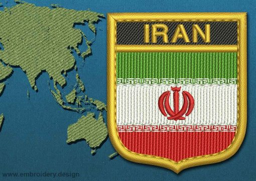 This Flag of Iran Shield with a Gold border design was digitized and embroidered by www.embroidery.design.
