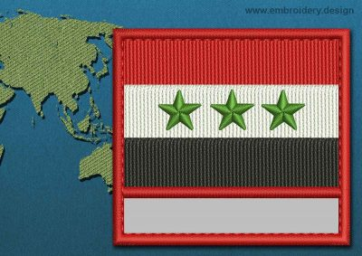 This Flag of Iraq Customizable Text  with a Colour Coded border design was digitized and embroidered by www.embroidery.design.