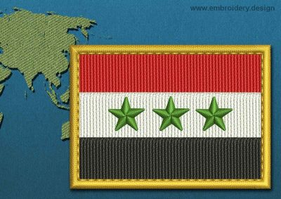 This Flag of Iraq Rectangle with a Gold border design was digitized and embroidered by www.embroidery.design.