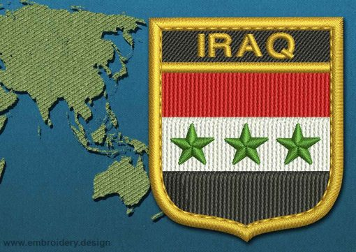 This Flag of Iraq Shield with a Gold border design was digitized and embroidered by www.embroidery.design.
