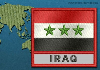 This Flag of Iraq Text with a Colour Coded border design was digitized and embroidered by www.embroidery.design.
