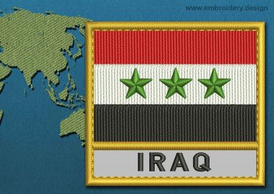 This Flag of Iraq Text with a Gold border design was digitized and embroidered by www.embroidery.design.