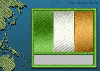This Flag of Ireland Customizable Text  with a Colour Coded border design was digitized and embroidered by www.embroidery.design.