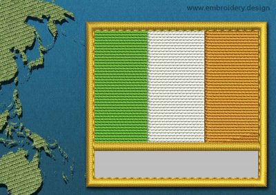 This Flag of Ireland Customizable Text  with a Gold border design was digitized and embroidered by www.embroidery.design.