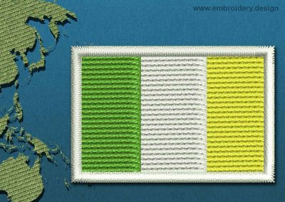 This Flag of Ireland Mini with a Colour Coded border design was digitized and embroidered by www.embroidery.design.