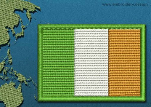 This Flag of Ireland Rectangle with a Colour Coded border design was digitized and embroidered by www.embroidery.design.