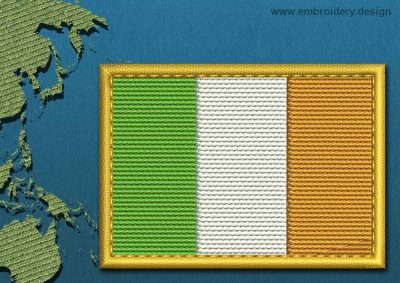 This Flag of Ireland Rectangle with a Gold border design was digitized and embroidered by www.embroidery.design.